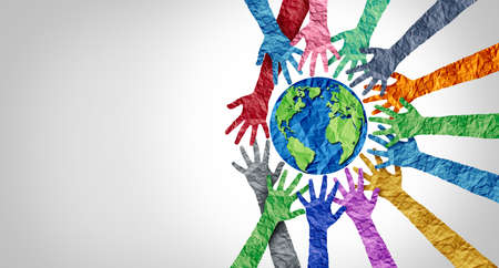 Global culture and world diversity or earth day and international cultures as a concept of diverse races and crowd cooperation symbol as hands holding together the planet earth.