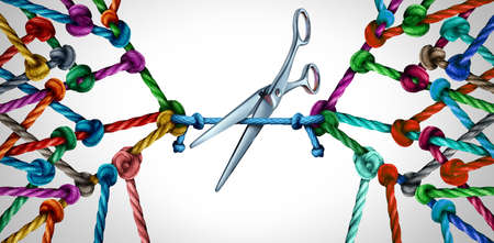 Cutting connections as a disconnect concept and dividing teams or losing group relationships as many different ropes tied and linked together as business trust metaphor with 3D illustration render elements.