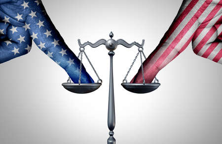 United States legal battle and american law as a tip the scales of justice concept with a the finger of people influencing the USA legal system for an legislative advantage with 3D illustration elements.