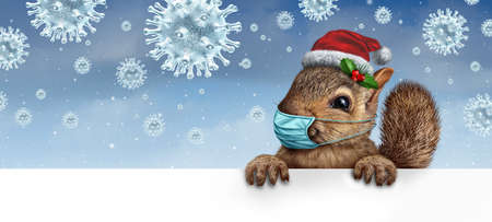 Healthy holiday squirrel wearing a face mask as a friendly furry character gripping a billboard for disease prevention as a Christmas new year with a virus snowflake background with 3D render elements.