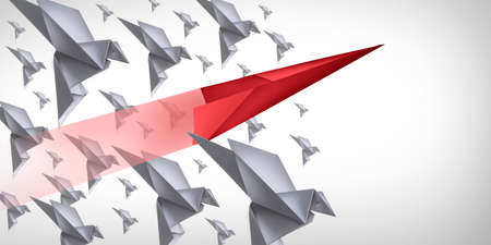 Disrupt and innovate game changer business change concept and disruptive innovation symbol and be an independent thinker with new ideas as an individual breaking through a group origami birds in a 3D illustration style.