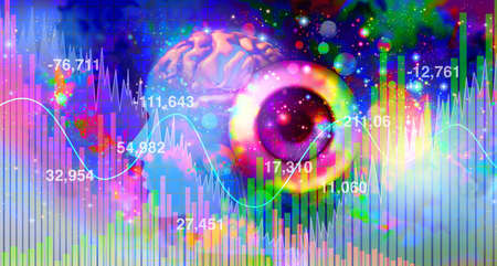 Psychedelics investment and psychedelic drug investing or hallucinogenic drugs industry or hallucinogens representing the business of mind altering substances in a 3D illustration elements. Stock Photo