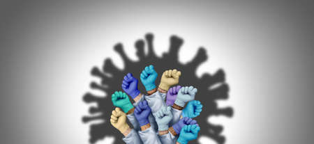 Doctor and nurse hero group to fight disease as Health Workers or Essential care medical staff and hospital medicine teamwork as a team of doctors and nurses joining together in shaped as a virus with 3D illustration elements.