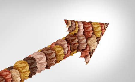Social progress and multi cultural society and multiculturalism as a celebration of diverse cultures and diversity or African black pride as multicultural unity of different races as a united success arrow in a 3D illustration style. Stock Photo