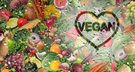 Vegan love and vegetarian fresh fruit and vegetable behind a cold glass with condensation and natural raw fruits and vegetables as healthy organic food in a refrigerator as a veganism symbol for good nutrition in a 3D illustration style. Stock Photo