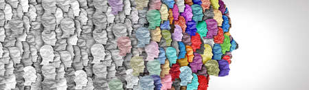 Demographic change and changing demography as a large group of people as a changing diversity in a population in a 3D illustration style.