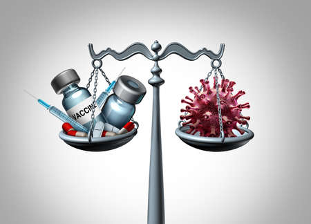 Treatment and disease balance as contagious pathogen cells and therapy medicine as vaccine and pills for a cure or prevention of infection as a 3D illustration.