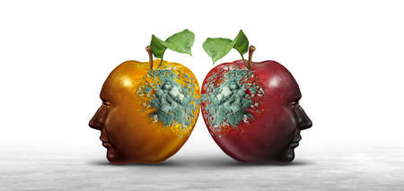 Destructive ideas concept as contagious thinking causing harm or spreading hate as two decaying apples with mold shaped as human heads with 3D illustration elements.