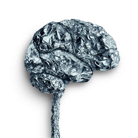 Brain metal accumulation concept and human mind lobe as a thinking organ made of metallic material as a neurology and neuroscience symbol. Stock Photo