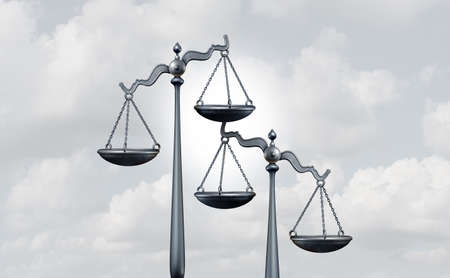 Competition law and competing legislation as a legal concept of judgement as lawyer services that compete or mediation and arbitration symbol as a 3D illustration.