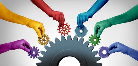 Business teamwork unity and connecting team concept idea as an industry metaphor for joining a partnership as diverse people connected together as a corporate symbol for cooperation with 3D illustration elements.. Stock Photo