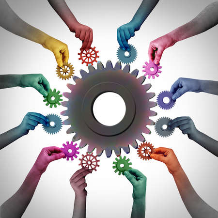 Together in business as a teamwork unity and employment or employee concept or industry workers metaphor for joining a partnership as diverse people connected together with 3D illustration elements..