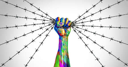 Social justice freedom and peaceful protest or protester unity as a fist of diversity as a nonviolent resistance symbol of hope and liberty from injustice for the future of society in a 3D illustration style.