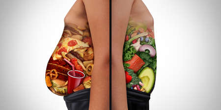 Diet choices and nutrition choice and eating unhealthy diet or healthy food as a side view of a fat and normal person with the stomach made from junk food or health ingredients as a dieting issue with 3D illustration elements. Stock Photo