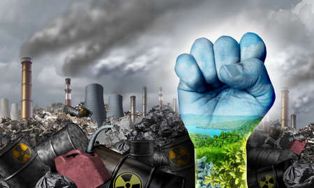 Ecological social justice enviromental concept as a fist fighting for the environment and climate change equal rights or conservation society and fairness with 3D illustration elements. Stock Photo