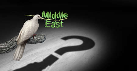 Middle East peace questions and persian gulf diplomacy uncertainty concept with a white dove holding an olive branch with a shadow searching for a negotiated peaceful solution to avoid war with 3D render elements. Stock Photo