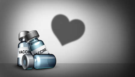 Vaccine love as a vaccination health care heart symbol for the prevention of a virus infection as or  and influenza or the flu as vaccines medication cure for immunization as a 3D render.