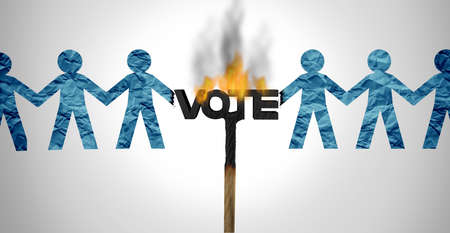 Political divide and voter division in an election vote with society split apart by ideology of politics as the left and right or liberal and conservative ideology with 3D illustration elements.