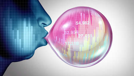 Economic bubble burst and stock market speculation concept or overvalued economy as a financial crisis and inflated prices as a finance risk to investors and speculative valuation ready to pop with 3D render elements. Stock Photo