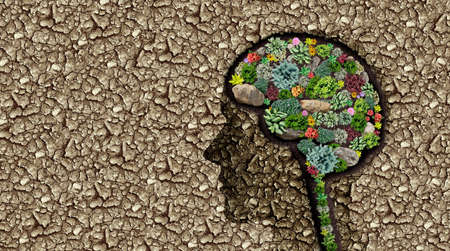 Fertile imagination and healthy mind or mental health concept as a neurology or psychiatry and psychology symbol as a brain intelligence icon as a group of plants shaped as the thinking organ in a dry desert.