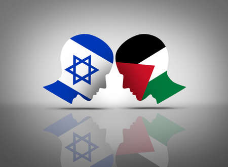 Israel and Palestine conflict or Israeli and Palestinian middle east crisis with two opposing people in dispute as a concept in a 3D illustration style.