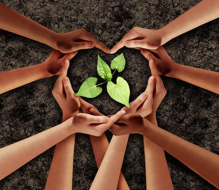 Earth day love and agriculture support or ecology unity as heart hands in a group of people connected together shaped as a supporting symbol helping protect a seedling expressing the feeling of teamwork and togetherness.