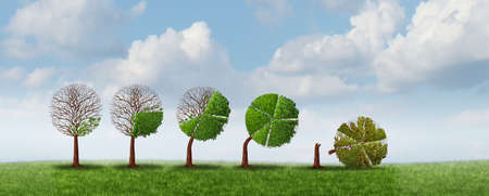 Business growth risk and financial strain problems with a fast growing economic cycle as a tree shaped as a business chart breaking due to bad management of massive gains as a corporate metaphor with 3D illustration elements.