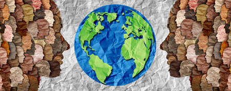 International diversity or earth day and international world culture as a concept of diversity and crowd cooperation symbol as diverse people standing together for the planet earth.