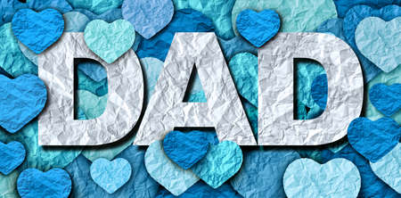Fathers Day greeting and celebration or love for Dad in a 3D illustration style.
