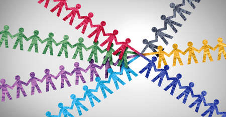 Connect team and diverse partnership or diversity teamwork business support as a symbol of strength working together to collaborate as united groups of paper cutout people. Stock Photo