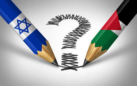 Israel and Palestine crisis and middle east conflict or Israeli and Palestinian questions with two opposing sides as pencils drawing a question mark as a dispute concept with 3D illustration elements.