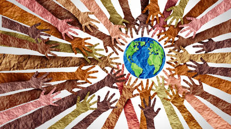 World culture earth day and global diversity and international cultures as a concept of diverse races and crowd cooperation symbol as hands holding together the planet earth in a 3D illustration style. Stock Photo