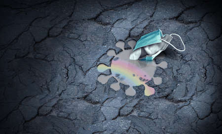Virus and mask concept as throwing surgical masks away as a recovery from a pandemic idea with a rainbow reflexion in a puddleas a healthcare vaccination success or hope for a better future with 3D illustration style.
