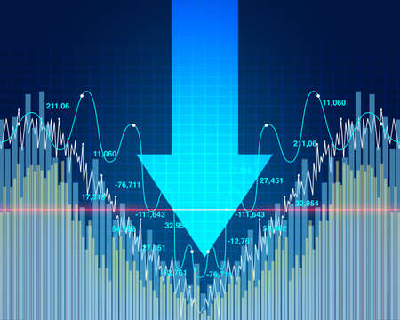 Stock market dip and economy decline or economic fear and financial equity selling as a downward arrow representing business recession in a 3D illustration style. Stock Photo