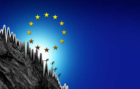 Europe recession and European economic fall as a Euro financial inflation crisis or Eurozone economy risk in a 3D illustration style. Stock Photo