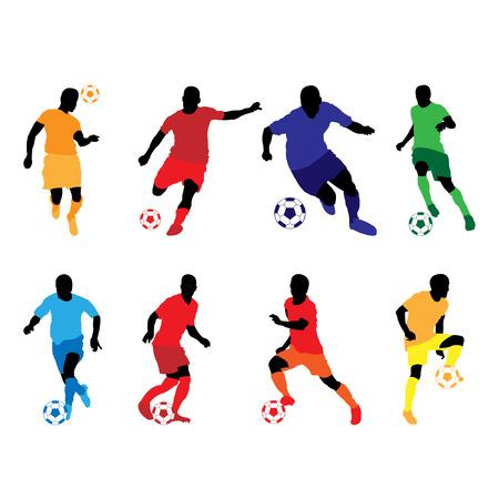 soccer silhouette color Ilustração