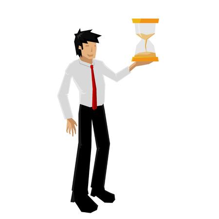 oncept: man hold sandglass Illustration