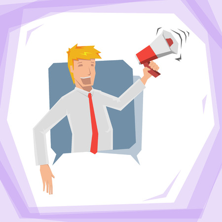 abstact: Man hold megaphone Illustration