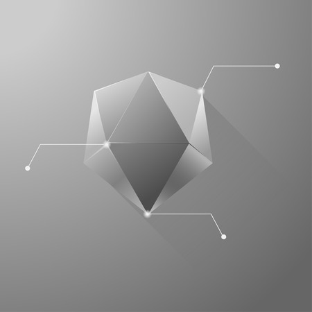 icosahedron: Polygon info graphic Illustration