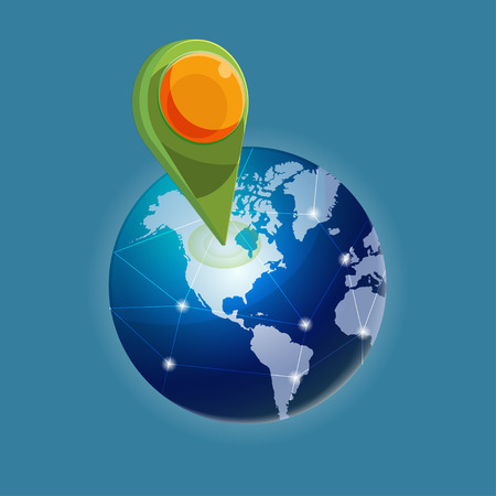 locate: Check in Global world navigator vector Illustration