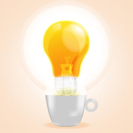 fresh idea: Lamp cup idea fresh buisiness coffee vector