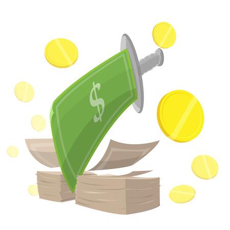 great depression: Sword Money Cut Finance vector