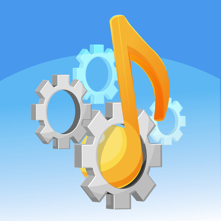 fixed: Music Note Gear Fixed vector Illustration