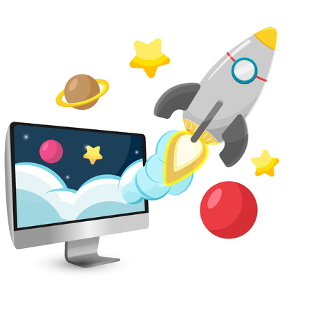 rocketship: Rocket Start Project Cartoon vector