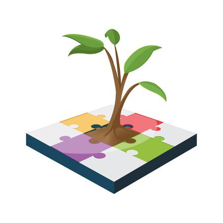Tree Jigsaw Business Color Growth Vector Çizim