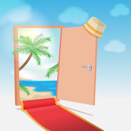 lagoon: Opened Door Beach Background Travel Vector