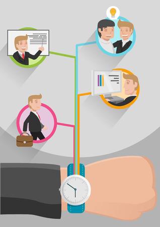 business innovation: Time Management Business Workflow vector Illustration