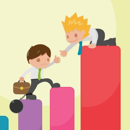 hopeful: Man helping friend up on graph