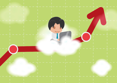touch sensitive: Man Work Cloud Stock Market Vector