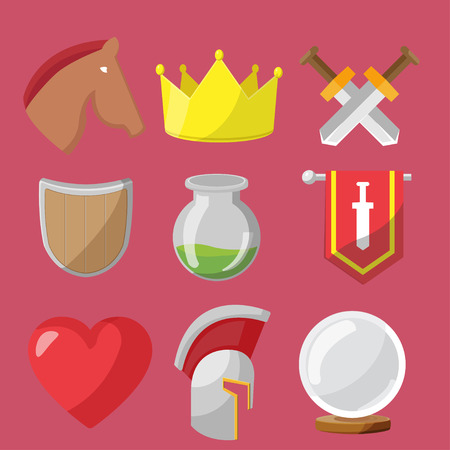 sword and heart: Fantasy game icons flat sets vector Illustration